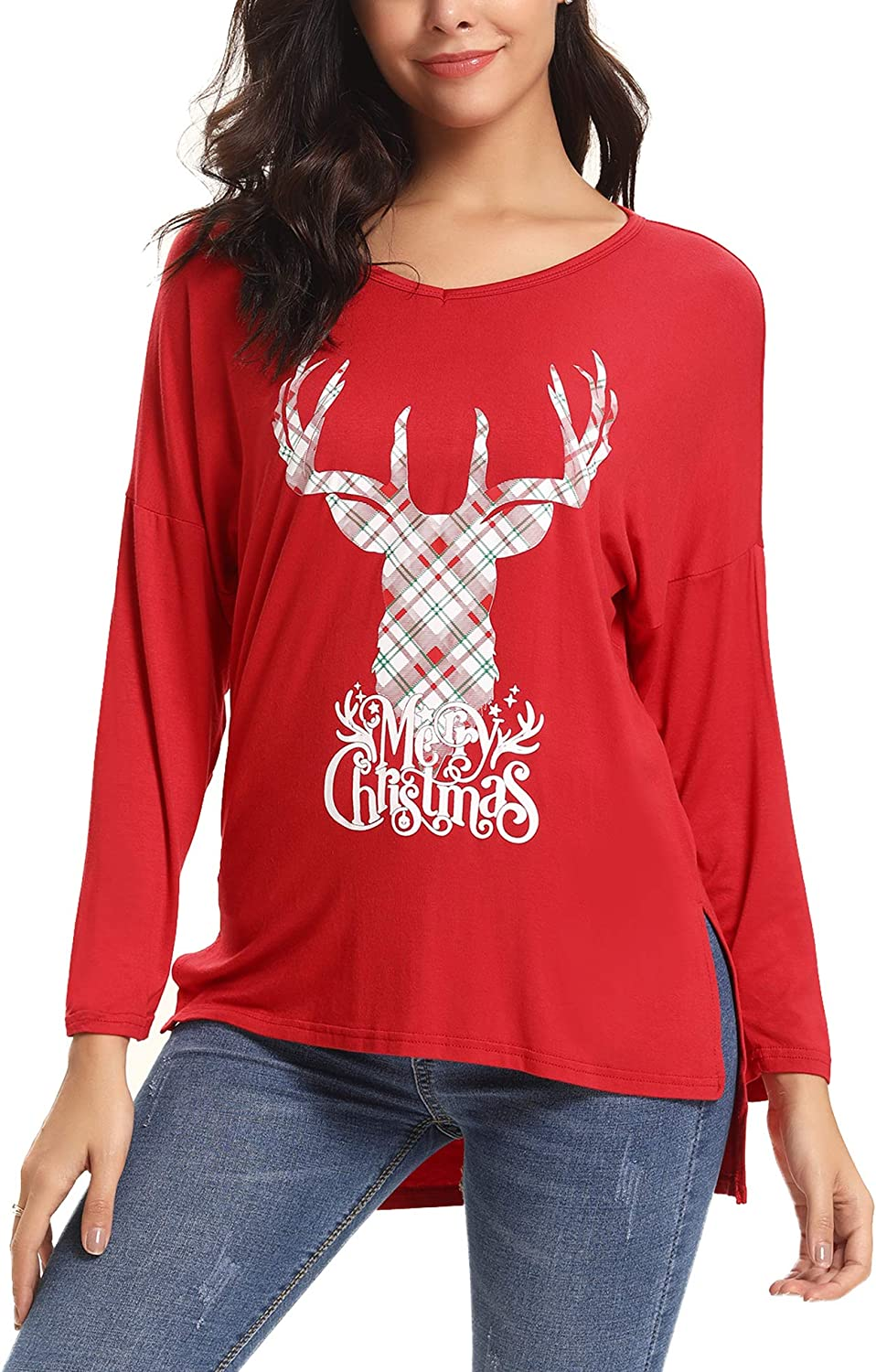 iClosam Womens Sexy Cross Front V-Neck Long Sleeve Christmas Letter Print T-Shirt Tunic Tops
