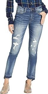 Miss Me Women's Five-Pocket Distressed Straight in Medium Blue