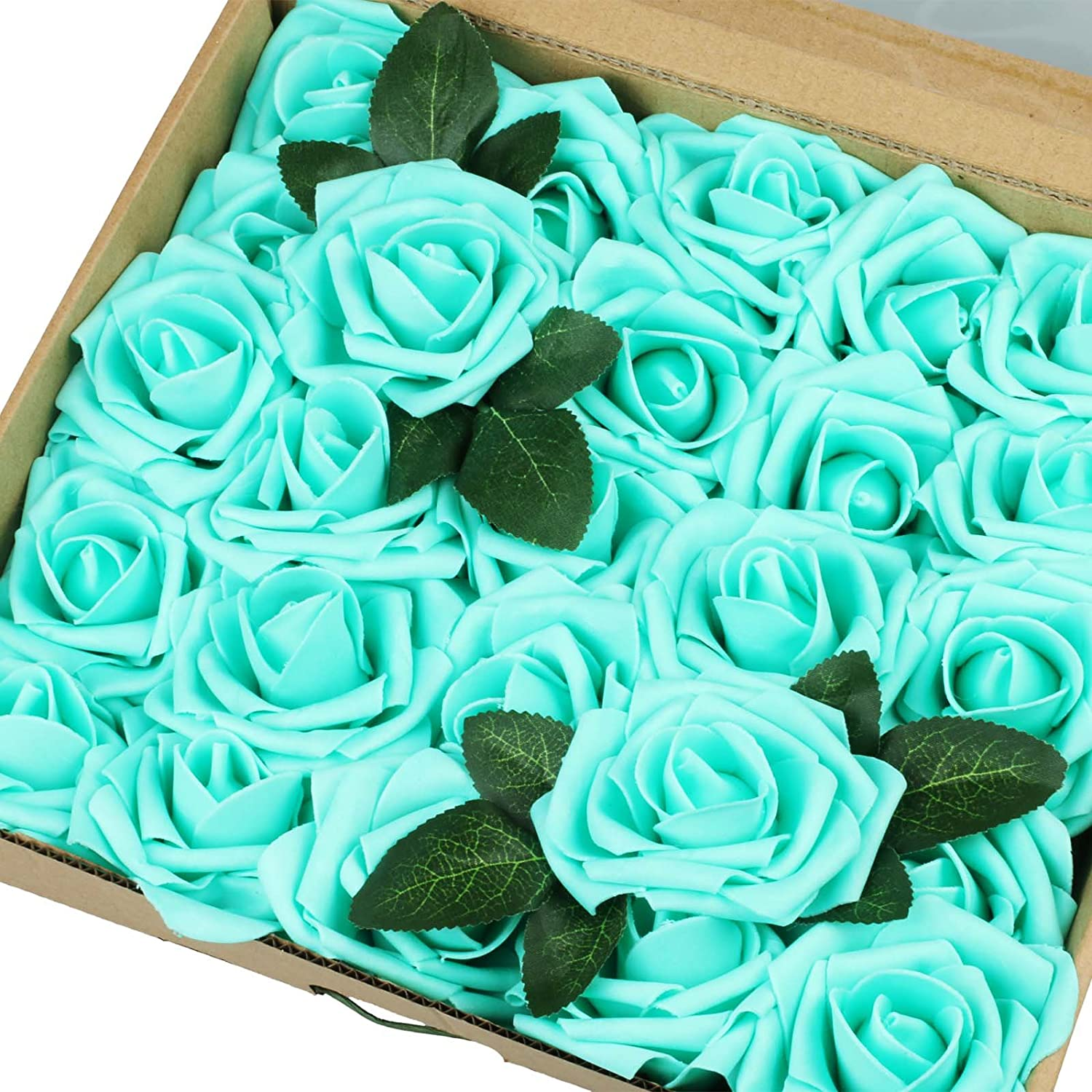 IngTall Artificial Flowers 25pcs Real Max 61% OFF Blue Tiffany Looking Fake OFFicial