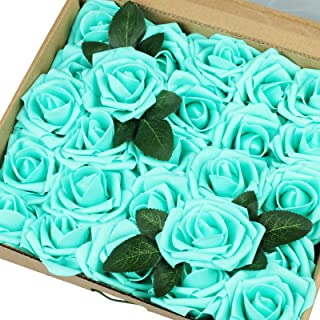 Vlovelife 50pcs Teal Blue Real Looking Fake Roses Artificial Flowers Roses Head With Stem for DIY Wedding Bouquets Centerpieces Arrangements Birthday Baby Shower Home Party Decorations