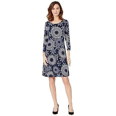 eci 3/4 Sleeve Puff Print Fit Flare Jersey Dress (Navy/White) Women