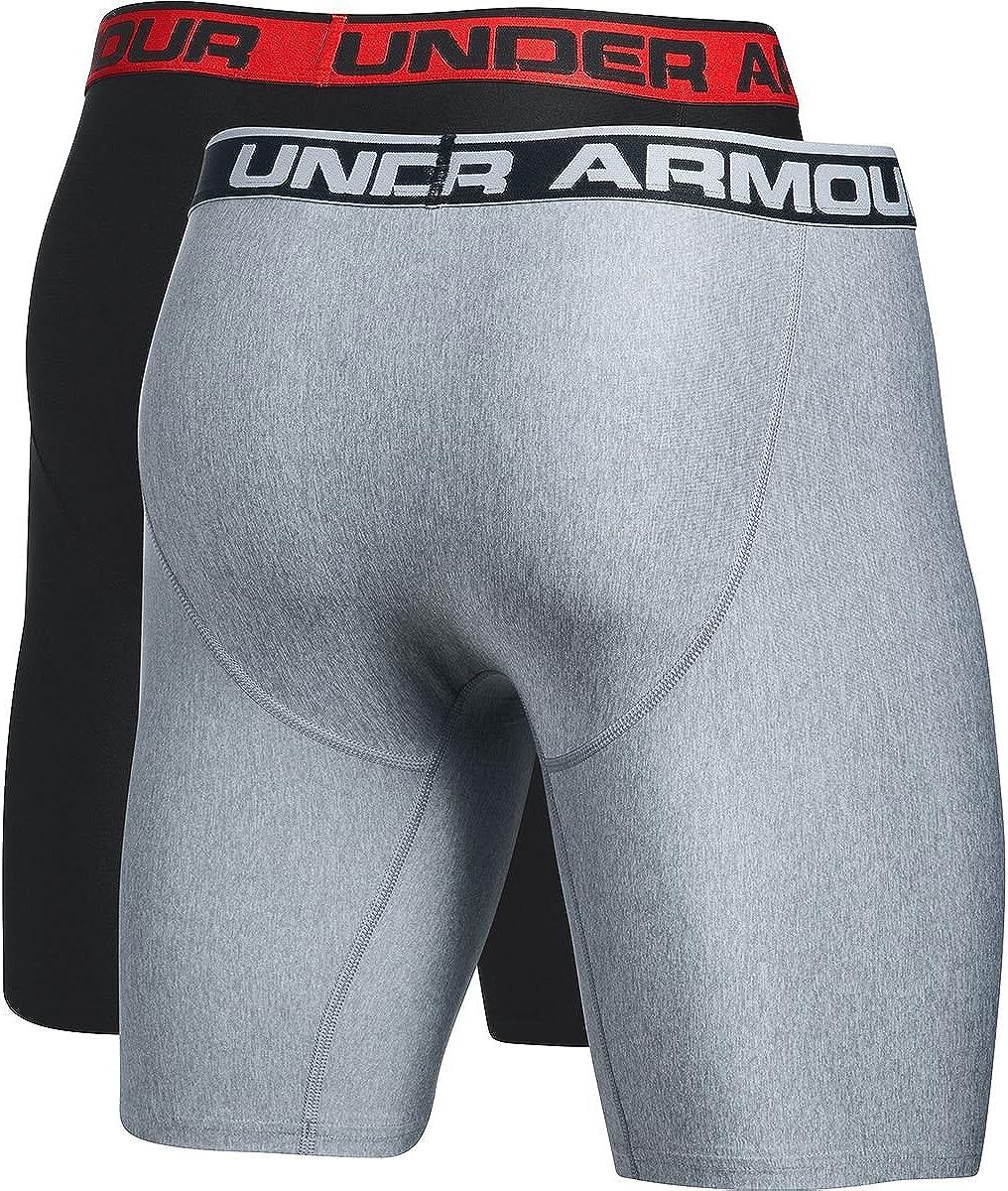 Under Armour O-Series 9in Boxerjock -2-Pack - Men's Black/Steel Light Heather, XXL