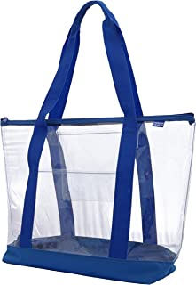 Clear ZIPPER tote with color trim and bottom Royal trim