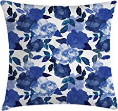 Ambesonne Flower Throw Pillow Cushion Cover by, Lively Watercolor Painted Simplistic Large Flowers and Leaves Vivid Spring, Decorative Square Accent Pillow Case, 16 X 16 Inches, White Royal Blue
