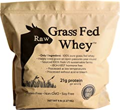 Raw Grass Fed Whey 5LB - Happy Healthy Cows, COLD PROCESSED Undenatured 100% Grass Fed Whey Protein Powder,...
