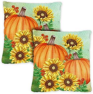 Toland Home Garden 761290 Pumpkins and Sunflowers 18 x 18 Inch Indoor/Outdoor, Pillow Case (2-Pack)