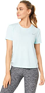 Nike Women's MILER SS T-Shirt, Silver (Teal Tint-reflective Silver )Size  X-Large (NKAJ8121)