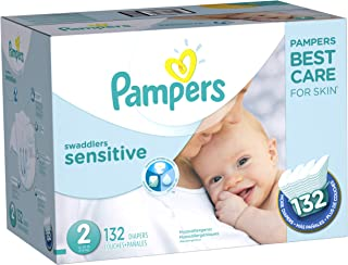 Diapers Size 2, 132 Count - Pampers Swaddlers Sensitive Disposable Baby Diapers, Super Economy