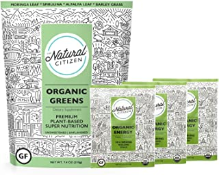 The Natural Citizen Organic Greens, Only 4 Quality-Tested & Nutrient-Rich Green Superfoods, 21 Servings