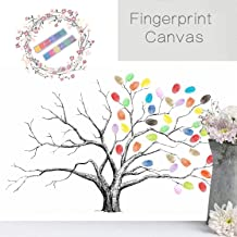 Homokea Wedding Fingerprint Tree Thumbprint Tree Canvas DIY Fingerprint Tree Canvas Wedding Guest Book Tree With 8 Color Ink Pads 100 or 200(Fingerprint Tree, 30x40cm)
