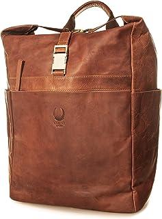 Corno d´Oro Mochila de piel para hombre y mujer, grande, XL, hasta 25 l, para portátil de 17 pulgadas, estilo vintage, col...