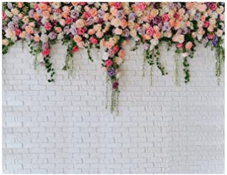 AIIKES 7X5FT Fondo de fotografía de Pared de ladrillo Blanco Flores Fondo de decoración de Pared de ladrillo Boda Novia Ba...
