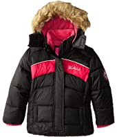 Weatherproof Kids Bubble Jacket with Chest Stripes and Faux Fur Trimmed Hood (Little Kids)