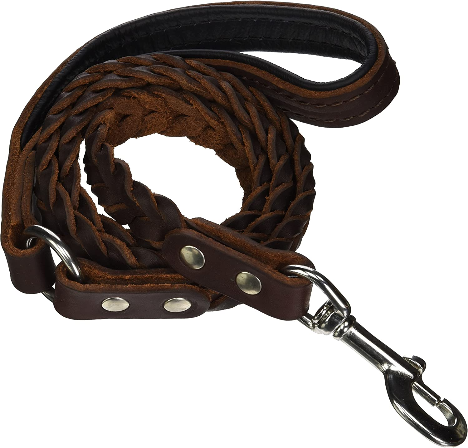Dean & Tyler Comfort Braid Leather Leash, Brown 4Feet by 3 4Inch Width with Black Padding and Stainless Steel Hardware.