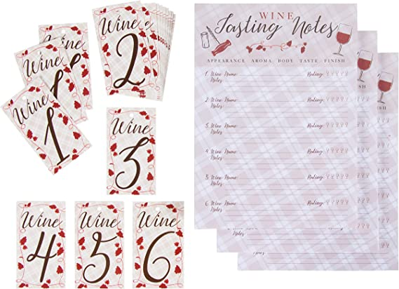 Wine Tasting Game Kit - 3-Set Wine Tasting Score Sheets and Bottle Number Tags