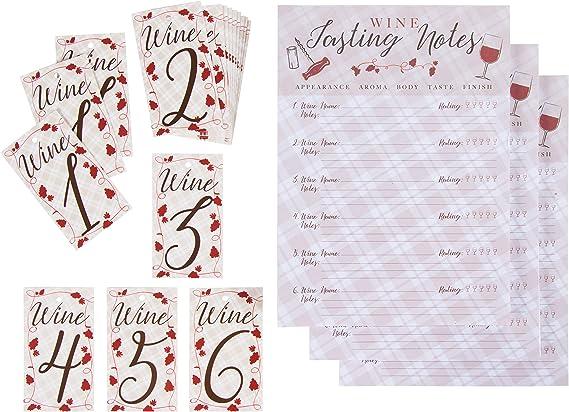 Wine Tasting Game Kit - 3-Set Wine Tasting Score Sheets and Bottle Number Tags