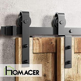Homacer Sliding Barn Door Hardware Single Track Bypass Double Door Kit, 10FT Flat Track Classic Design Roller, Black Rustic Heavy Duty Interior Exterior Use