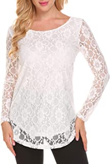 Women's Lace Casual Tops Short Sleeve/Long Sleeve Boho Elegant Casual Loose Blouse Shirts