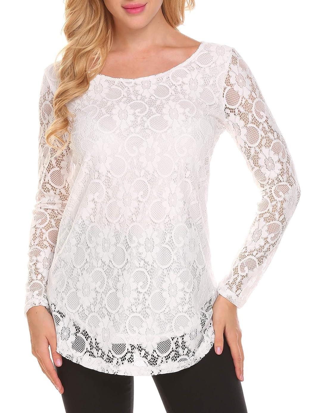 SoTeer Women's Lace Casual Tops Short Sleeve/Long Sleeve Boho Elegant Casual Loose Blouse Shirts