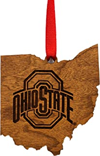 Ohio State Buckeyes Wooden Ornament - State Map with Logo
