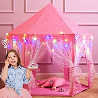 """Best Princess Castle Play Tents for Girls, Kids Play Tent with Star Lights, Bonus Princess Tiara and Wand, Large Size 55"""" x 53"""" Pink Hexagon Kids Playhouses Indoor & Outdoor, Girl Toy Gifts Age 3+ Review"""