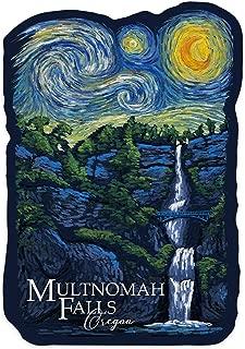 Lantern Press Multnomah Falls, Oregon - Van Gogh Starry Night - Contour 97874 (Vinyl Die-Cut Sticker, Indoor/Outdoor, Small)