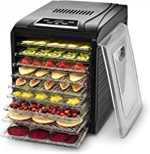 Gourmia GFD1950 Premium Countertop Food Dehydrator 9 Drying Shelves Digital Thermostat Preset Temperature Settings Airflow Circulation Countdown Timer Free Recipe Book Included 110V
