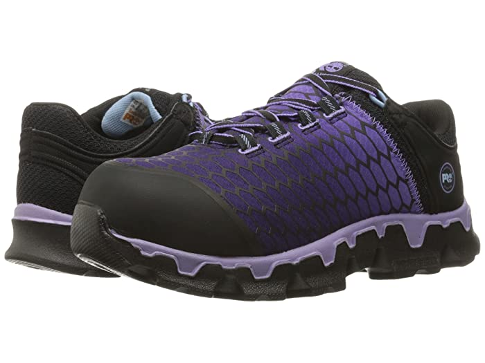 Timberland PRO  Powertrain Sport Alloy Toe SD+ (Black Synthetic/Lavender) Womens Work Lace-up Boots