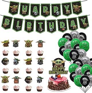 Baby Yod_a Party Supplies مجموعة تزيين عيد ميلاد سعيد ، لافتة علوية للكيك بالونات ، أغطية كب كيك للأطفال