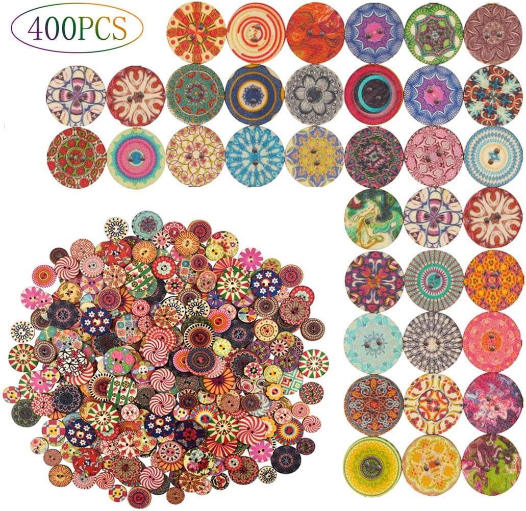 Tslinc 400 PCS Wood Buttons, Mixed Random Flower Painting Round
