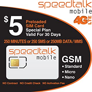 $5 GSM SIM Card 250 Minutes Talk or 250 Text or 250MB Data 30 Day Service- No Contract