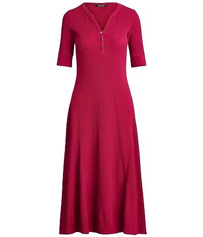 LAUREN Ralph Lauren Waffle Knit Fit-and-Flare Dress (Bright Fuchsia) Women