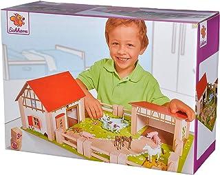 Eichhorn 100004308 - Farm with 2 buildings, game board, figures, animals, fences; 25 pcs, 36x51cm