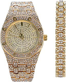 Octagonal CZ Diamond Gold Watch & 10mm Iced Out Bracelet | Japan Movement | Mens 2-Piece Gift Set with Gift Box