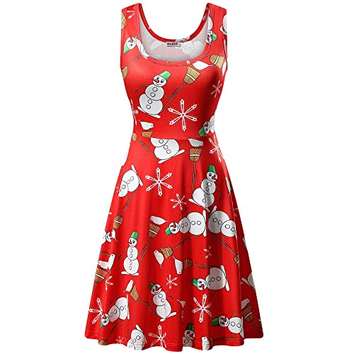 b0cffe98974d HUHOT Red Christmas Dress, Festive Women Christmas Reindeer Snowflakes  Snowman Dress(X-Large