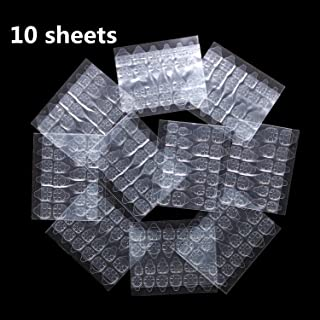 Ivtor 10 Sheets Waterproof Breathable Jelly Double Sided Adhesive Tabs Nail Glue Sticker False Nail Tips