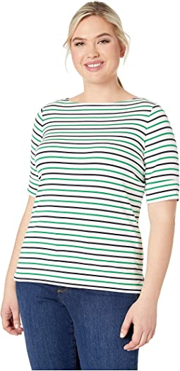 ccd7a5f1f2 Plus Size Cotton Boat Neck Top.  40.00. Silk White Lauren Navy Cambridge  Green