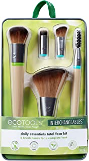EcoTools Daily Essentials Face Kit Interchangeables Makeup Brush Set with 5 Brushes, 2 Handles, and Storage Tin