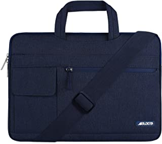 MOSISO Laptop Shoulder Bag Compatible 13-13.3 Inch MacBook Pro, MacBook Air, Notebook Computer, Protective Polyester Flapover Messenger Briefcase Carrying Handbag Sleeve Case Cover, Navy Blue