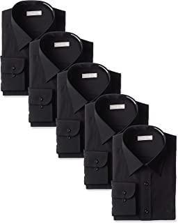 [ドレスコード101] ブラック 形態安定ワイシャツ 5枚セット ユニフォーム・制服にピッタリ パーティ・フォーマルにも 黒シャツ 男女兼用 レギュラー ボタンダウン SHIRT-BLACK-5
