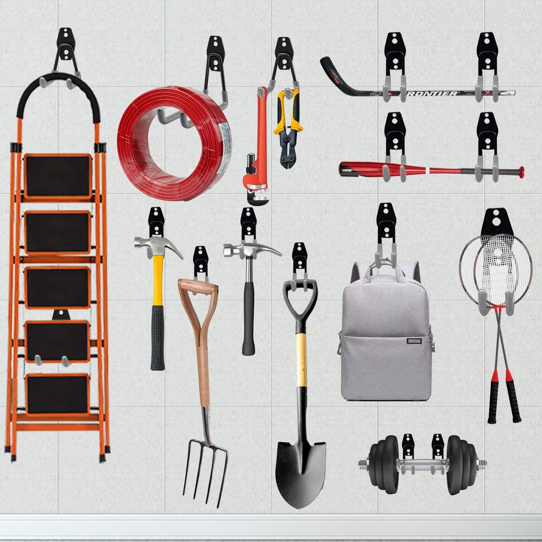 Gris 8 piezas Ganchos para Colgar Gancho para Colgador de Garaje Dobles Gancho de Bicicleta de Pared para Organizar Herramientas Multifuncional 3-H Ganchos de Almacenamiento de Garaje