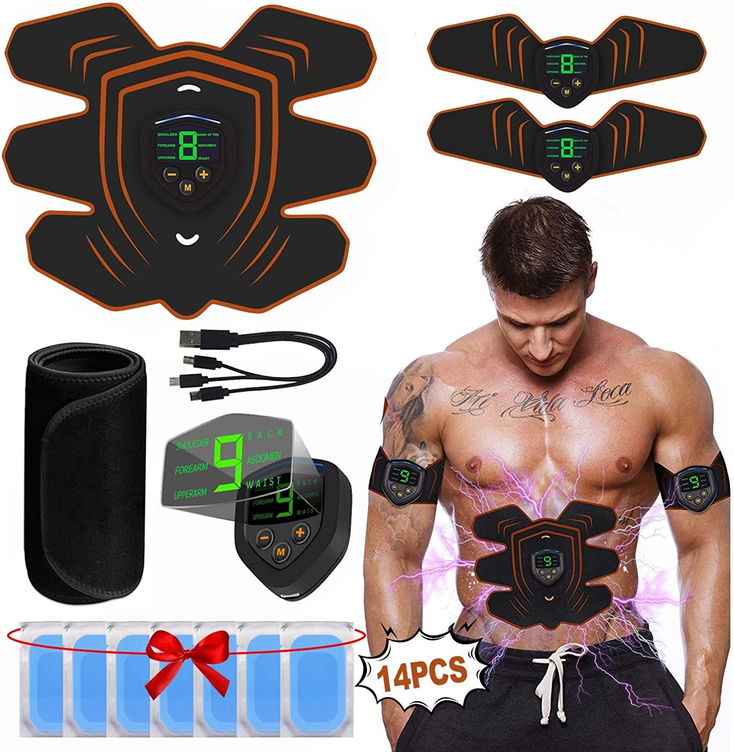 Mscxj ABS Stimulator Muscle Toner, Abdominal Toning Belt Muscle Smart EMS Body Trainer, USB Rechargeable LCD Display 6 Modes & 9 Levels Wireless Portable Unisex Fitness Training Fat Burning