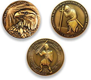 Logos Trading Post Antique Gold Plated Christian Challenge Coins | Value Variety Pack of 3 | Assortment 6