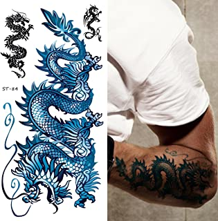 Supperb Temporary Tattoos - Blue Dragon II (Set of 2)