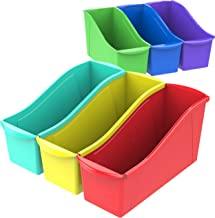 Storex Large Book Bin, Linking Storage Bin, Dry Erase Surface, 14.3 x 7 x 5.3 Inches, STEM Assortment, 6-Pack (70110A06C)