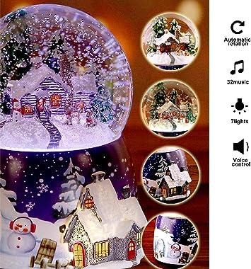 Glitterdomes Snow Globe Christmas Santa Decoration Music Glitterdome Musical Christmas Water Lantern Snow Globe Train Lantern