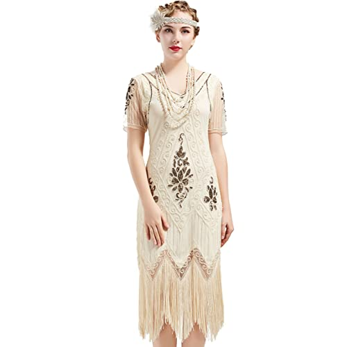 67186402e28 ArtiDeco 1920s Flapper Fringed Sequin Dress Roaring 20s Fancy Dress Gatsby Costume  Dress V Neck Vintage