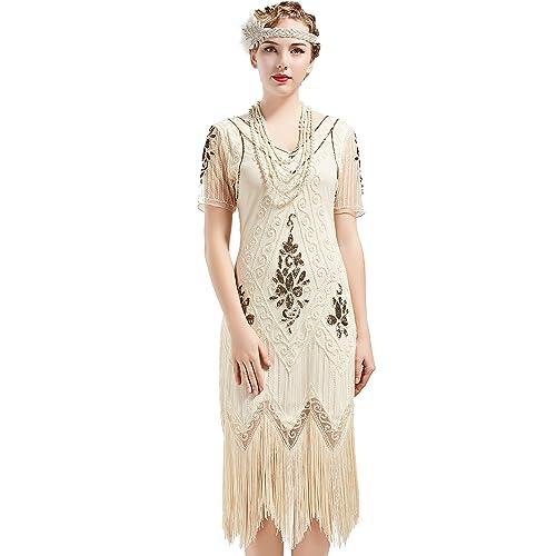 3910ff70616f BABEYOND 1920s Art Deco Fringed Sequin Dress 20s Flapper Gatsby Costume  Dress
