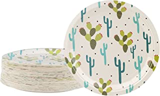 Disposable Plates - 80-Count Paper Plates, Cactus Party Supplies for Appetizer, Lunch, Dinner, and Dessert, Kids Birthdays, 9 x 9 inches