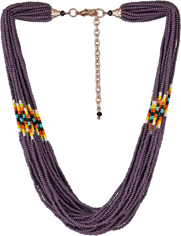 El Allure Purple Multi String Seed Glass Fashion trust Preciosa Jablonex Short
